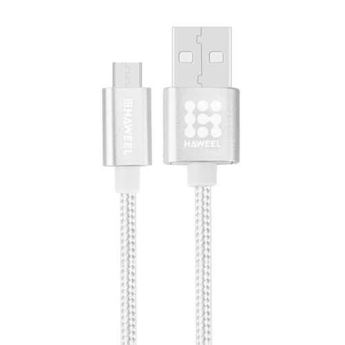 HAWEEL 1m Woven Style Metal Head 3A High Current Micro USB to USB Sync Data Charging Cable, For Samsung, Huawei, Xiaomi, LG, HTC and other Smartphones(Silver)