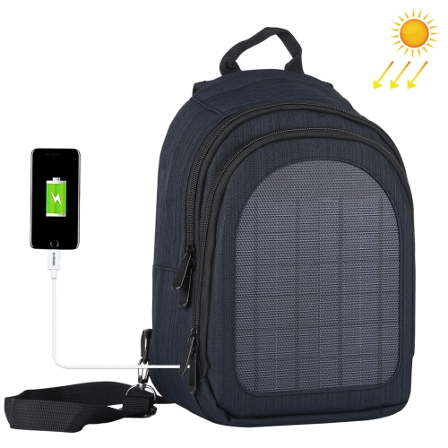 HAWEEL 5W Solar Panel Power Single & Double Shoulder Backpack Bag(Navy Blue)