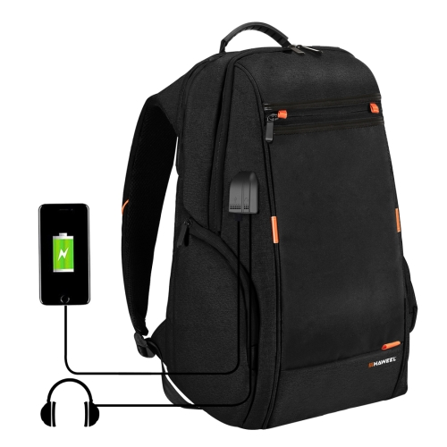 HAWEEL Outdoor Multi-function Comfortable Breathable Casual Backpack Laptop Bag with Handle, External USB Charging Port & Earphone Port(Black)