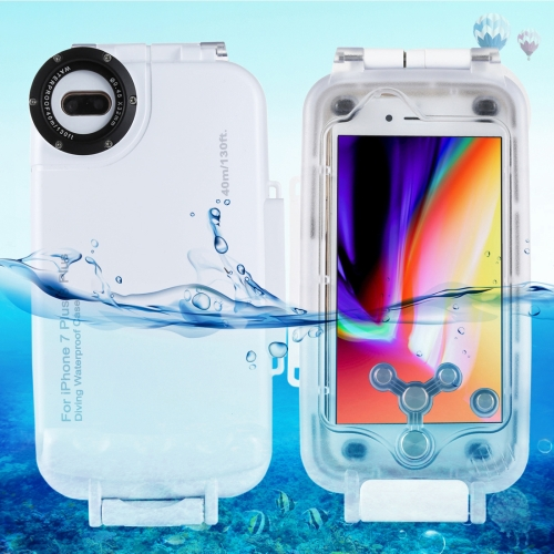 Buy HAWEEL for iPhone 8 Plus & 7 Plus 40m Waterproof Diving Housing Photo Video Taking Underwater Cover Case, White for $23.58 in SUNSKY store