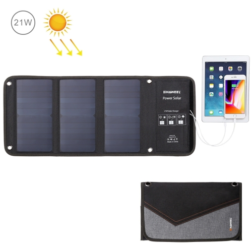 HAWEEL 21W Foldable Solar Panel Charger with Dual USB Ports 2015 new arrival 21w folding solar panel with 6 folds in camouflage green color portable charger petcs21ta