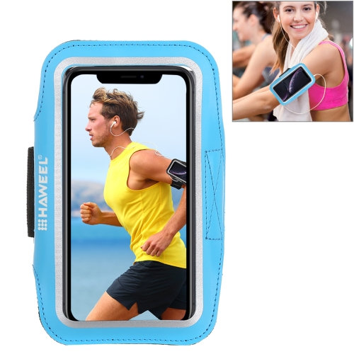 HAWEEL Sport Armband Case with Earphone Hole & Key Pocket, For iPhone XS, iPhone XS Max, iPhone X, iPhone 8 Plus & 7 Plus, iPhone 6 Plus, Galaxy S9+ / S8+ / S6 / S5(Blue)