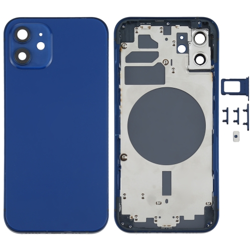 Back Housing Cover with SIM Card Tray & Side Keys & Camera Lens for iPhone 12(Blue)  - buy with discount
