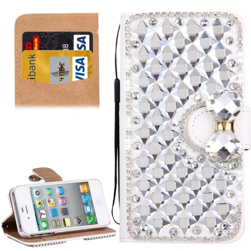 Buy For iPhone 4 & 4S Diamond Encrusted Bowknot Pattern Horizontal Flip Leather Case with Magnetic Buckle & Card Slots & Holder & Lanyard, Silver for $3.94 in SUNSKY store