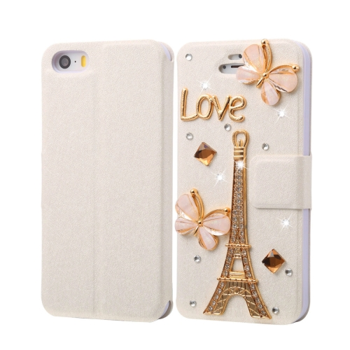 Buy Fevelove for iPhone SE & 5s & 5 Diamond Encrusted Tower Pattern Horizontal Flip Leather Case with Magnetic Buckle & Card Slots for $3.23 in SUNSKY store
