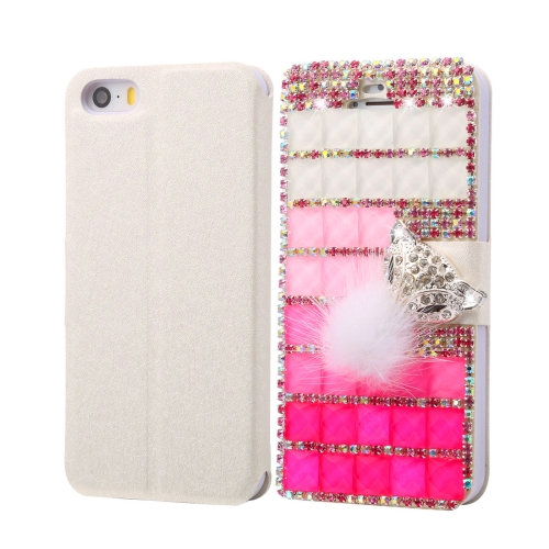 Fevelove for iPhone SE & 5s & 5 Diamond Encrusted Jewel Fox Pattern Horizontal Flip Leather Case with Magnetic Buckle & Card Slots