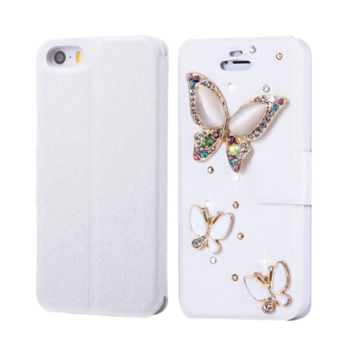 Buy Fevelove for iPhone SE & 5s & 5 Diamond Encrusted Three Butterflies Pattern Horizontal Flip Leather Case with Magnetic Buckle & Card Slots for $3.35 in SUNSKY store
