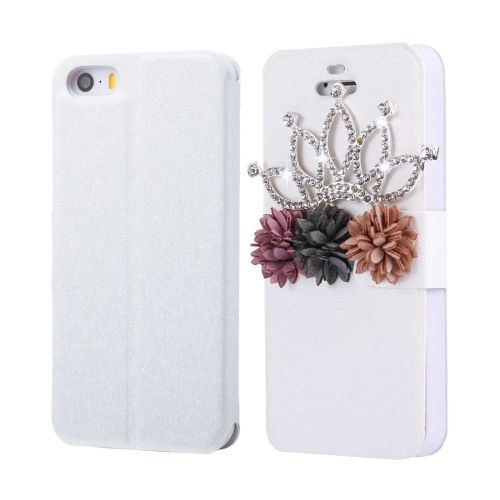 Buy Fevelove for iPhone SE & 5s & 5 Diamond Encrusted Bling Crown Cloth Flower Pattern Horizontal Flip Leather Case with Magnetic Buckle & Card Slots for $3.72 in SUNSKY store