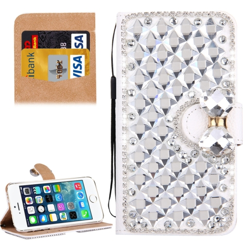 Buy For iPhone SE & 5s & 5 Diamond Encrusted Bowknot Pattern Horizontal Flip Leather Case with Magnetic Buckle & Card Slots & Holder & Lanyard, Silver for $3.94 in SUNSKY store
