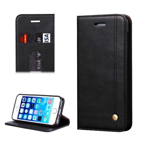For iPhone 5 & 5s & SE Crazy Horse Texture Horizontal Flip Leather Case With Card Slots & Wallet(Black) фото