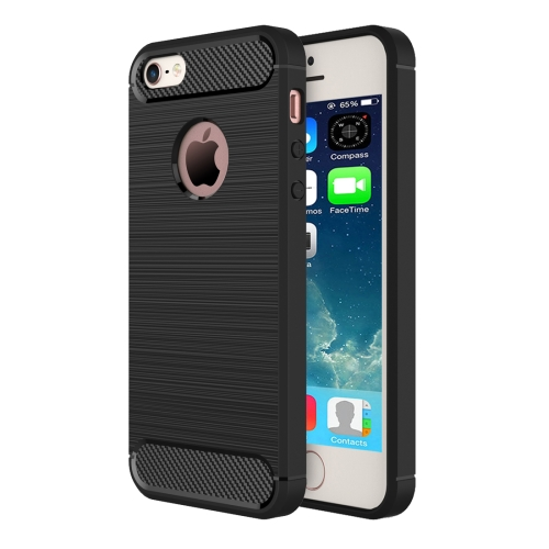 For iPhone SE & 5s & 5 Brushed Texture Fiber TPU Rugged Armor Protective Case(Black)