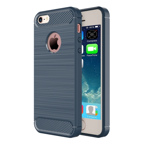 For iPhone SE & 5s & 5 Brushed Texture Fiber TPU Rugged Armor Protective Case(Dark Blue)