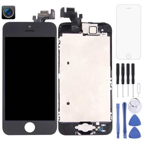 LCD Screen and Digitizer Full Assembly with Front Camera for iPhone 5(Black)