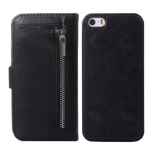 Buy 2 in 1 Separable Crazy Horse Texture Wallet Style Flip Leather Case for iPhone 5 & 5S & SE, Black for $4.65 in SUNSKY store