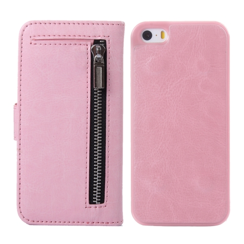 Buy 2 in 1 Separable Crazy Horse Texture Wallet Style Flip Leather Case for iPhone 5 & 5S & SE, Pink for $4.65 in SUNSKY store