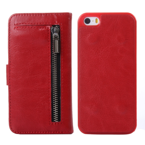 Buy 2 in 1 Separable Crazy Horse Texture Wallet Style Flip Leather Case for iPhone 5 & 5S & SE, Red for $4.65 in SUNSKY store
