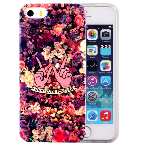 For iPhone 5 & 5s & SE IMD Colorful Flowers Pattern Blu-ray Soft TPU Protective Case