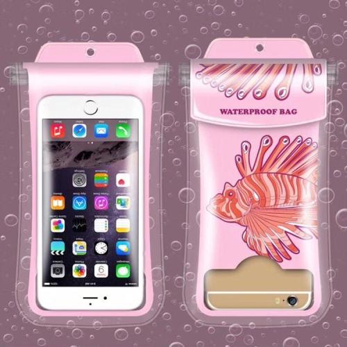 Delicate Fish Pattern PVC Transparent Universal Luminous Waterproof Bag with Lanyard for Smart Phones below 5.8 inch