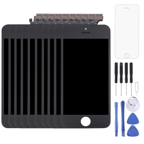 10 PCS LCD Screen and Digitizer Full Assembly with Frame for iPhone 5 (Black)