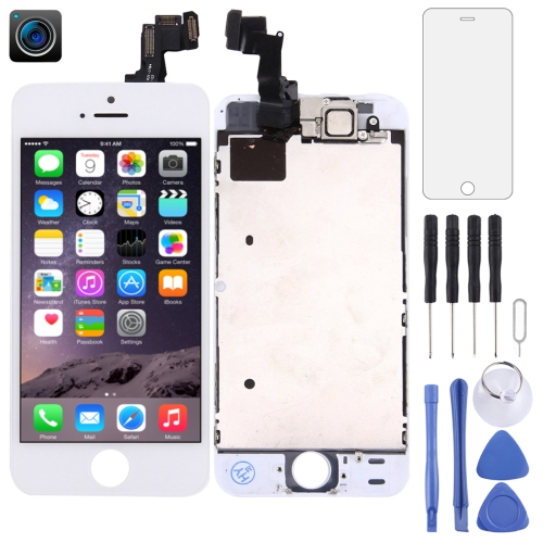 LCD Screen and Digitizer Full Assembly with Front Camera for iPhone 5S(White)