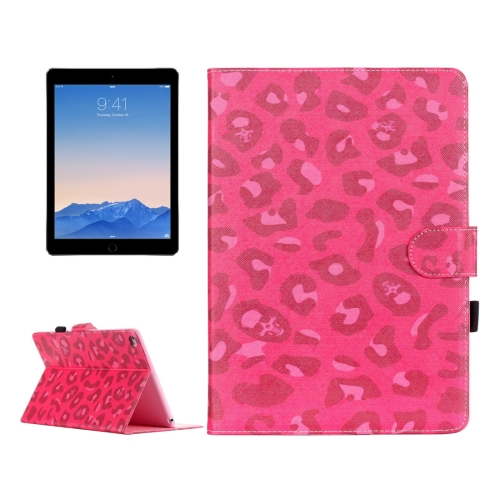 Buy For iPad Air 2 / iPad 6 Magenta Leopard Pattern Horizontal Flip Leather Case with Holder & Card Slots & Wallet for $4.67 in SUNSKY store