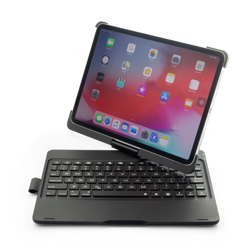 F360B 360 Degree Flip Colorful Backlight Aluminum Backplane Wireless Bluetooth Keyboard Protective Case for iPad Pro 11 inch (2018) (Black)