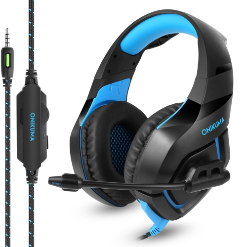 ONIKUMA K1 Deep Bass Noise Canceling Gaming Headphone with Microphone, For PS4, Smartphone, Tablet, PC, Notebook(Black+Blue) onikuma k5 3 5mm game gaming headphone headset earphone with mic led light for laptop tablet ps4 xbox one mobile phones