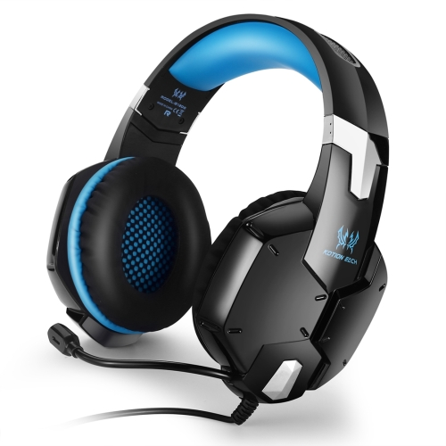 KOTION EACH G1200 Professional 3.5mm Plug Bass Stereo Gaming Headphone with Microphone, For PS4, Smartphone, Tablet, Computer, Notebook(Blue) high quality gaming headset with microphone stereo super bass headphones for gamer pc computer over head cool wire headphone