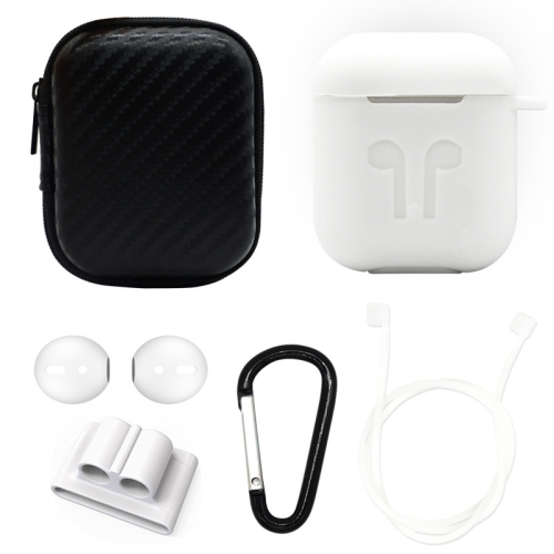 6 in 1 Earphone Bag + Earphone Case + Earphones Silicone Buckle + Earbuds + Anti-Drops Buckle + Anti-lost Rope Wireless Earphone Silicone Case Set for Apple Airpods (White)