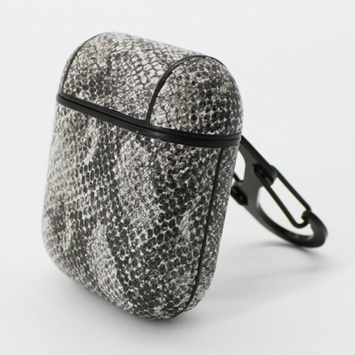 Snake Skin Texture Anti-lost Dropproof Wireless Earphones Charging Box Protective Case for Apple AirPods 1/2(Grey)