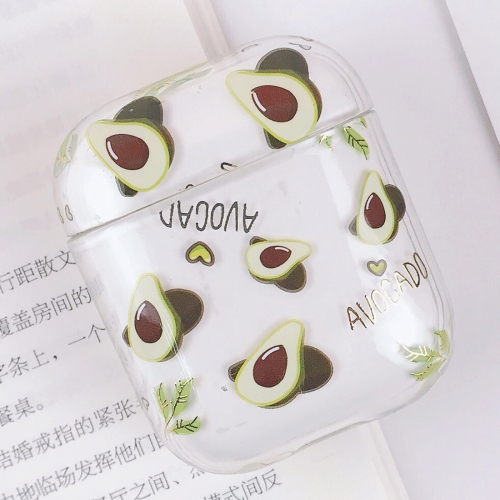 PC Water Decal Gilding Earphone Protective Case for Airpods 1 / 2, Pattern: Avocado