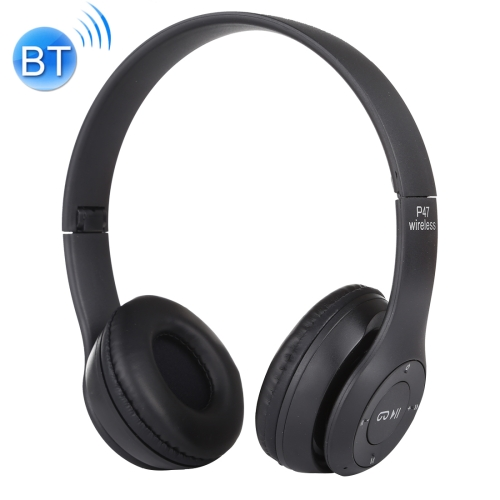 P47 Foldable Wireless Bluetooth Headphone with 3.5mm Audio Jack, Support MP3 / FM / Call (Black)