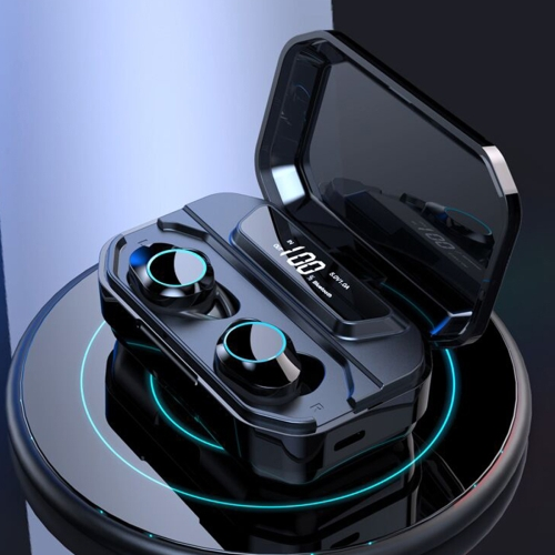 HAMTOD G02 Bluetooth 5.0 LED Display Screen Waterproof Binaural Wireless Bluetooth Headset