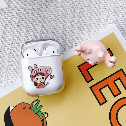 Piggy Girl Pattern Shockproof Coloured Drawing PC Protective Case for Apple AirPods