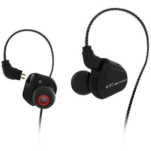 TRN V20 Hybrid In Ear Earphone Monitor Running Sport HiFi Headset with Detachable 2Pin Connection, without Mic(Black)