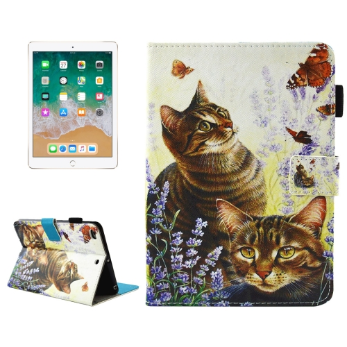 Buy For iPad 9.7 inch 2017 & Air 2 / Air Cats and Butterflies Pattern Horizontal Flip Leather Case with Holder & Wallet & Card Slots & Sleep / Wake-up Function & Pen Slot for $4.74 in SUNSKY store