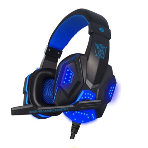 PLEXTONE PC780 Over-Ear Gaming Earphone Subwoofer Stereo Bass Headband Headset with Microphone & USB LED Light(Black Blue)