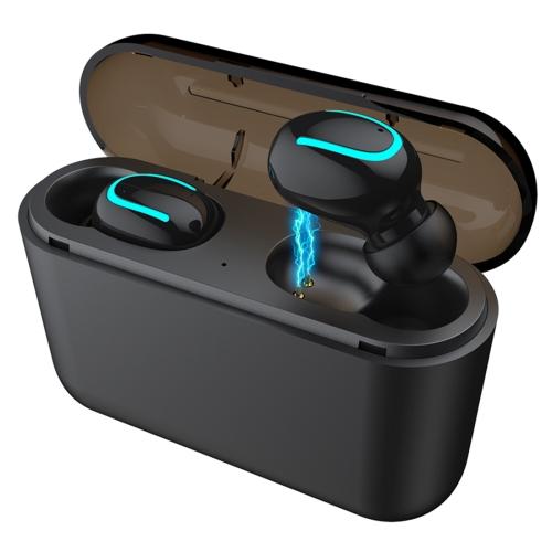 HBQ-Q32 TWS Bluetooth 5.0 Binaural Stereo Wireless Sports Bluetooth Earphone with Charging Box(Black)