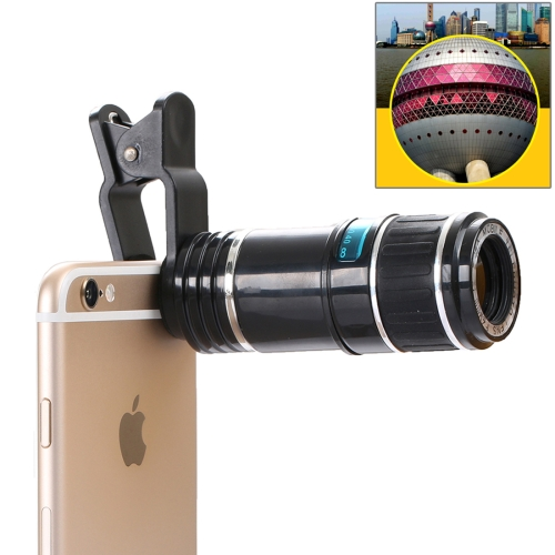 Buy 12X Optical Zoom Universal Mobile Phone Telescope Circumscribing Lens with Universal Clip for $9.41 in SUNSKY store