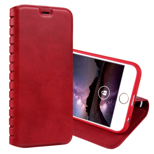 Buy For iPhone 6 & 6s PU Retro Texture with Absorption Horizontal Flip Leather Case with Holder & Card Slots, Red for $4.19 in SUNSKY store