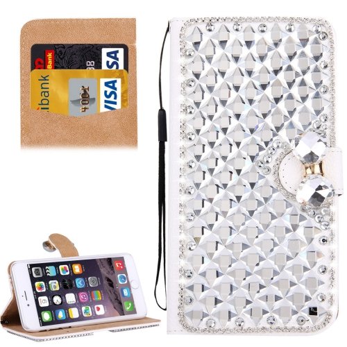 Buy For iPhone 6 & 6s Diamond Encrusted Bowknot Pattern Horizontal Flip Leather Case with Magnetic Buckle & Card Slots & Holder & Lanyard, Silver for $3.94 in SUNSKY store