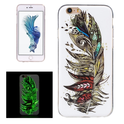 Buy For iPhone 6 & 6s Noctilucent Feather Pattern IMD Workmanship Soft TPU Back Cover Case for $1.34 in SUNSKY store