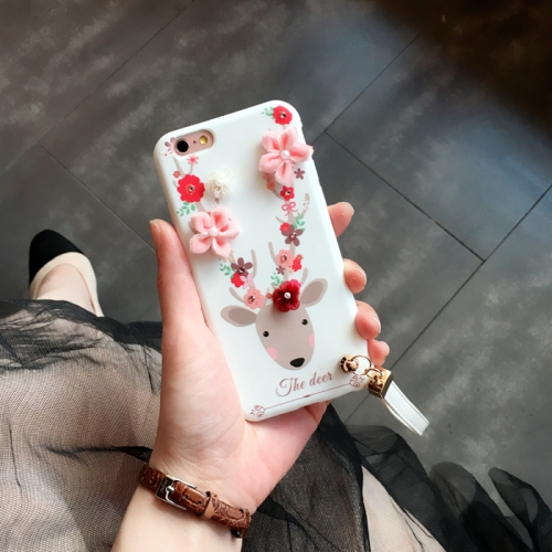 Buy For iPhone 6 & 6s 3D Flowers and Deer Pattern Soft TPU Back Cover Case with Lanyard, White for $3.08 in SUNSKY store