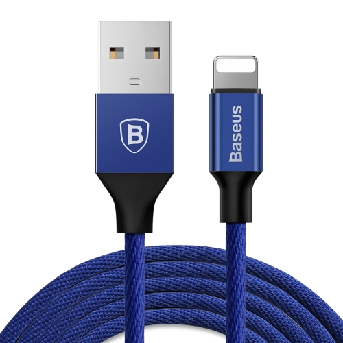 Baseus 3m 1.5A Yiven Cable Woven Style Metal Head 8 Pin to USB Data Sync Charging Cable,  For iPhone XR / iPhone XS MAX / iPhone X & XS / iPhone 8 & 8 Plus / iPhone 7 & 7 Plus / iPhone 6 & 6s & 6 Plus & 6s Plus / iPad(Blue)