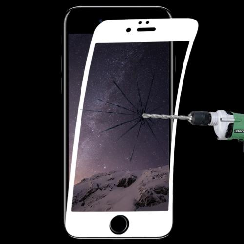 0.1mm 9H Full Screen Flexible Fiber Tempered Glass Film for iPhone 6 & 6s(White)