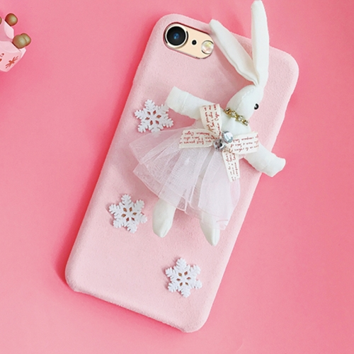 Buy For iPhone 6 & 6s Creative Cute Plush Cloth 3D Snowflake Plush Rabbit Protective Back Cover Case, Pink for $4.20 in SUNSKY store