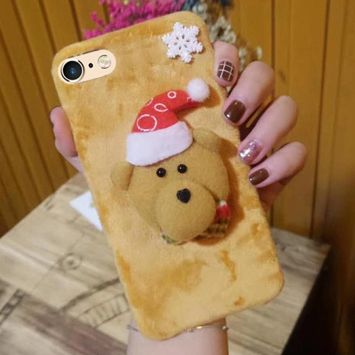 Buy For iPhone 6 & 6s Cute 3D Christmas Bear Pattern Flannel Protective Back Cover Case for $4.35 in SUNSKY store