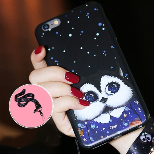 Buy AIQAA for iPhone 6 & 6s Cartoon Owl Pattern Soft TPU Protective Back Case Cover with Lanyard, Black for $3.27 in SUNSKY store