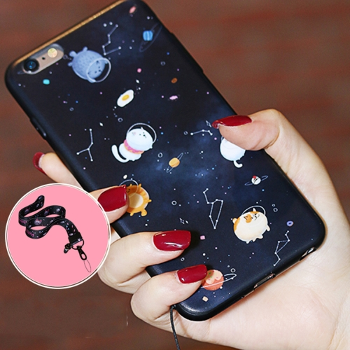 Buy AIQAA for iPhone 6 & 6s Cartoon Cat Space Pattern Soft TPU Protective Back Case Cover with Lanyard, Black for $3.34 in SUNSKY store