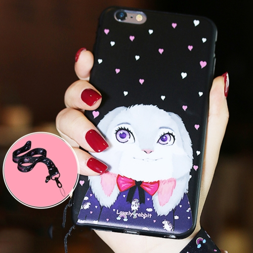 Buy AIQAA for iPhone 6 & 6s Animal Rabbit Pattern Soft TPU Protective Back Case Cover with Lanyard, Black for $3.44 in SUNSKY store